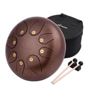 10 Inch Steel Tongue Drum Pan Drum Percussion Steel Drum Instrument 8 Notes with Mallets Mallet Bracket Tonic Sticker Travel Carrying Bag