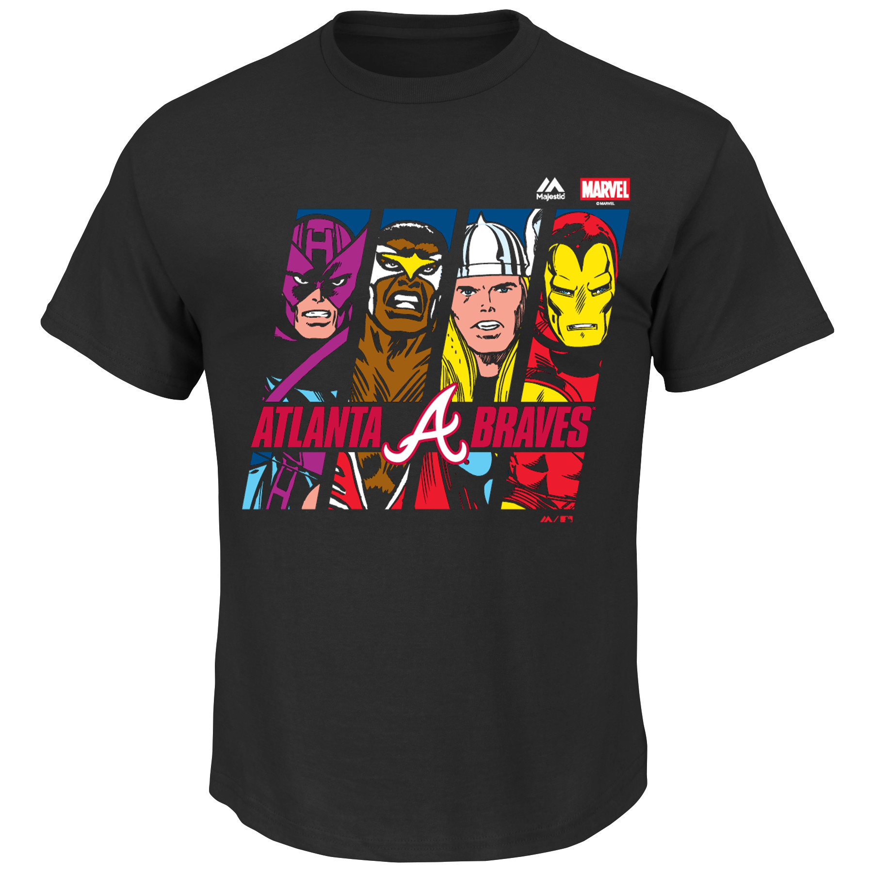 Atlanta Braves Majestic Women's Plus Size Marvel Iron Man Tee - Black