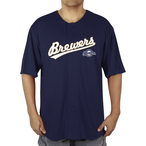 MLB Milwaukee Brewers Big Men's Poly Button Down Jersey