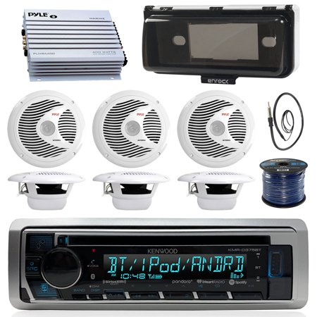 Kenwood KMRD375BT Marine Boat Audio Bluetooth CD Player Receiver W/ Protective Cover - Bundle Combo With 6x White 6-1/2'' 150W Waterproof Stereo Speakers + Enrock Antenna + 400W Amplifier + 50-FT (Best Boat Stereo Speakers)