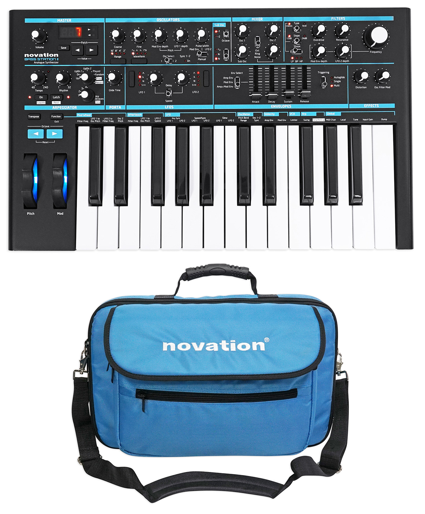 Novation BASS STATION II 25-Key MIDI USB Analog Keyboard Synthesizer + Carry Bag by NOVATION