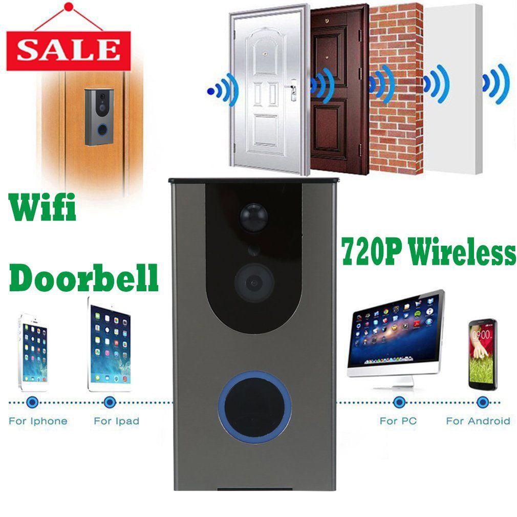 WIFI Wireless Smart Home Night Visual Video Door Bell Security 720P Camera Free APP Control Intercom Alarm Clear Night Vision Doorbell