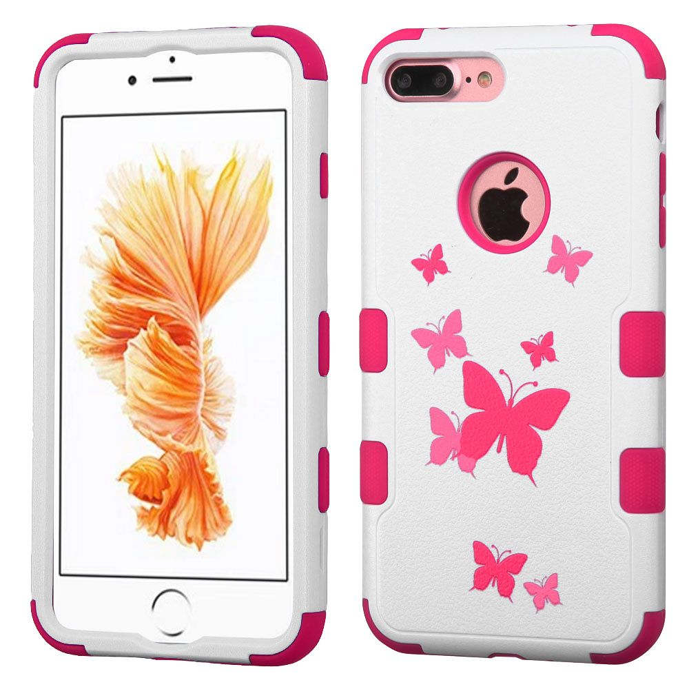 Insten Butterfly Dancing/Hot Pink TUFF Hybrid Dual Layer Case Cover for Apple iPhone 7 Plus