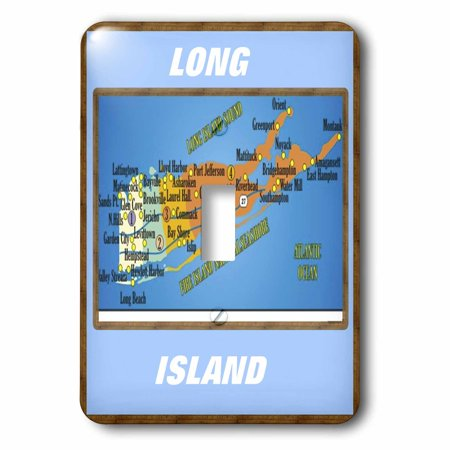 3dRose Framed Map Of Long Island - Single Toggle Switch (lsp_39011_1) ()