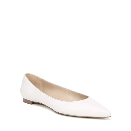 bella Marie Angie 51-s Patent Vegan Leather Pointed Toe Ballet Flats White Pvc Patent Leather