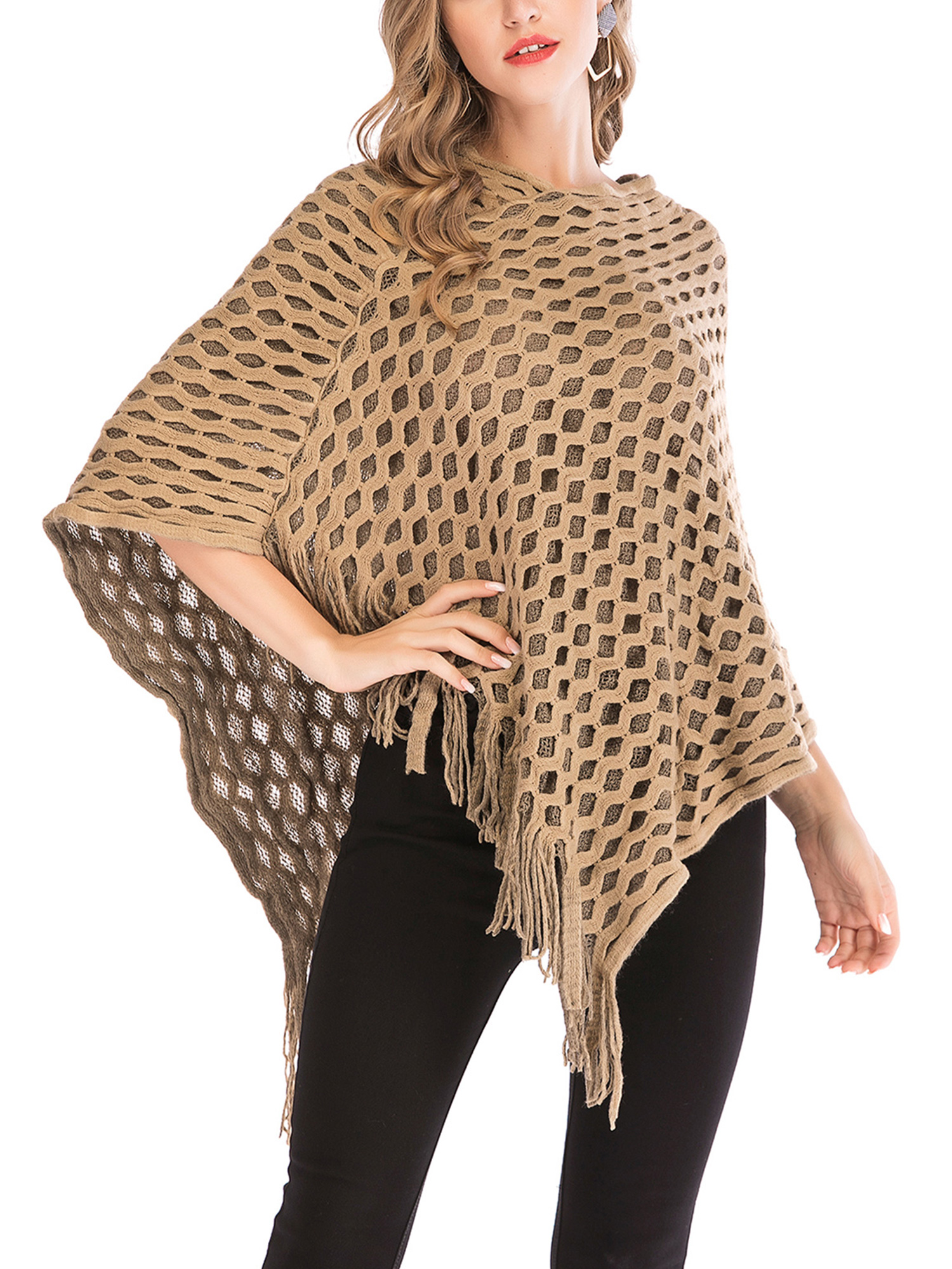 So Chic and adorable Great Gift Idea! Cheetah Print Poncho with fringe Warm and Cozy