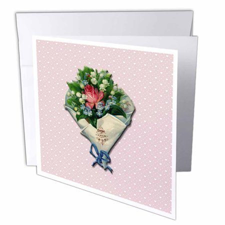 3dRose Forget me Not Bouquet of Roses and Lily of the Valley on a Pink with White Hearts Background, Greeting Cards, 6 x 6 inches, set of 6