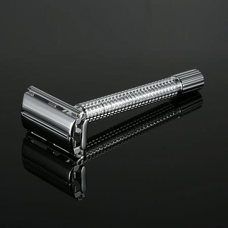 Acier inoxydable Double Edge Razor sécurité avec Double-bord en acier inoxydable 20pcs Lames traditionnels Hommes rasoir Set - image 5 de 7