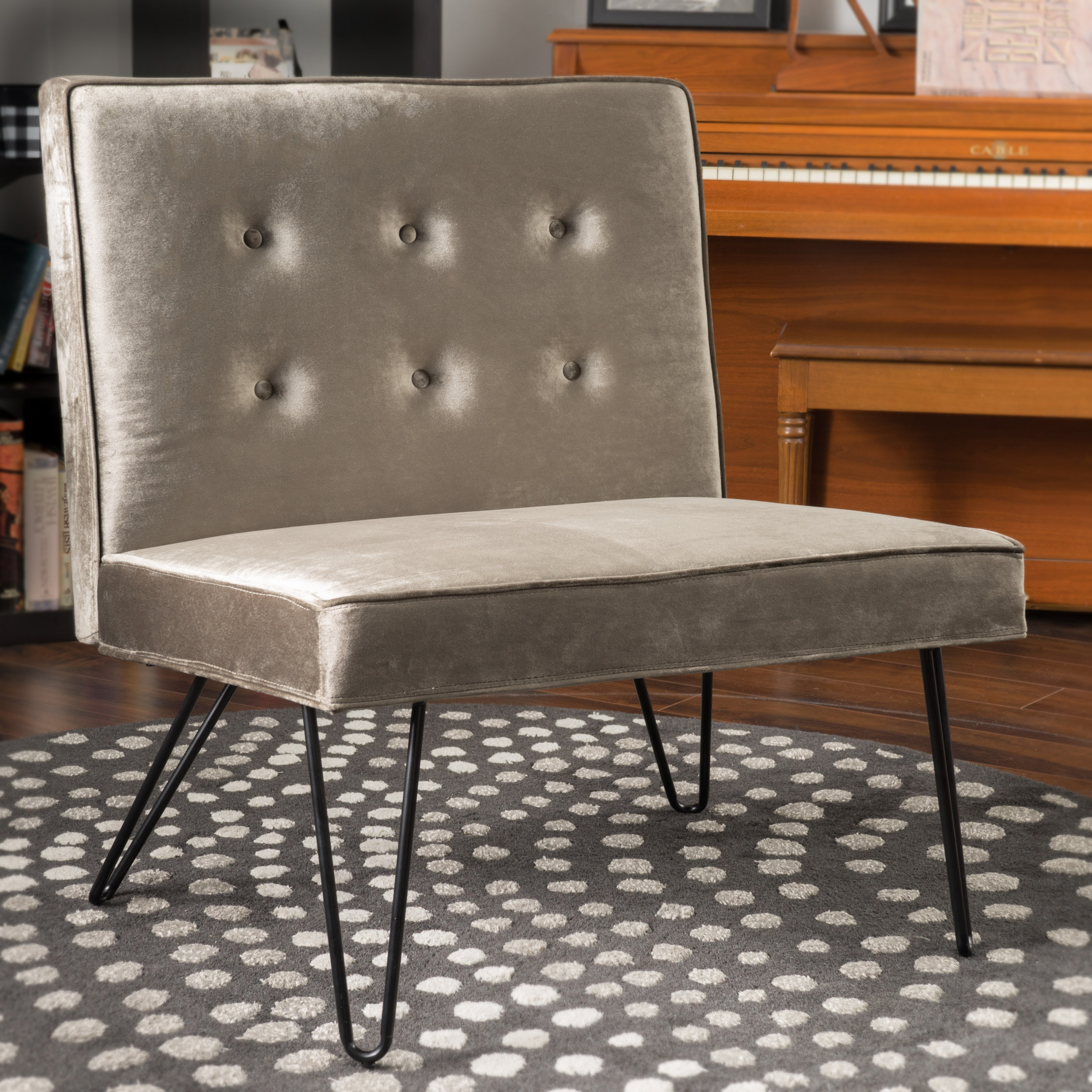 Noble House Velvet Modern Armless Chair,Grey