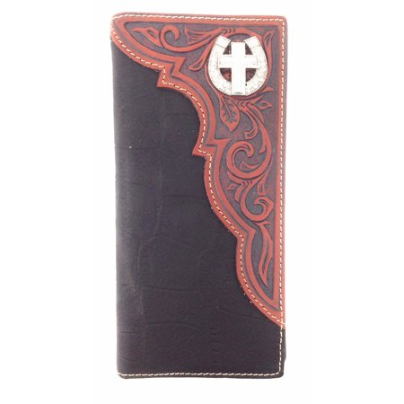 Texas West Premium Genuine Leather Cross Mens Long Wallet Checkbook in 2
