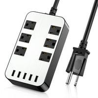 Power Srtip - Surge Protector Desktop USB Charging Station with 6 outlets 6.7Ft Long Extension Cord Adjustable Voltage 110-240V For iphone Samsung iPad Home Office For iphone Samsung iPad Home Office