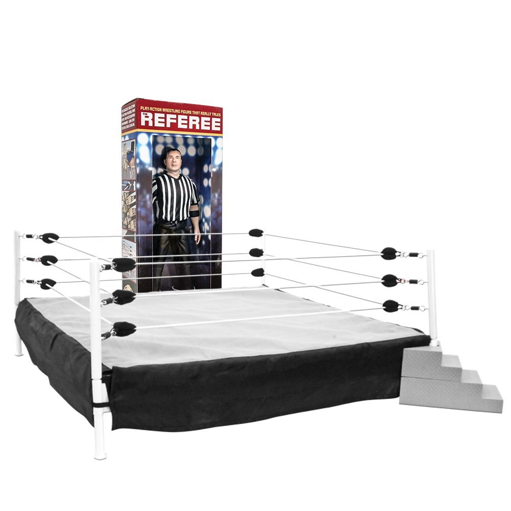 Special Deal: Wrestling Ring for Action Figures & Talking Wrestling Referee Figure For WWE Wrestling Figures