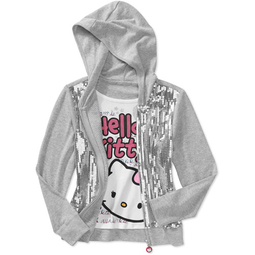 Hello Kitty - Girls' Sequins 2fer Graphic Hoodie
