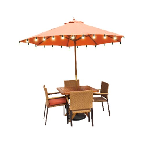 Better Homes and Gardens 9' Round Umbrella with Solar Lights, Orange Brick  - Walmart.com - Better Homes And Gardens 9' Round Umbrella With Solar Lights