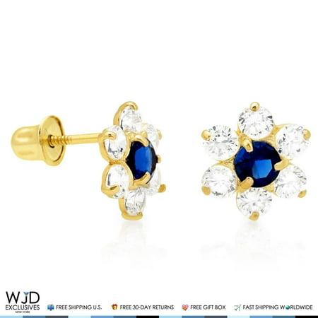 Blue White Yellow Diamond Studs (14k Yellow Gold 0.70Ct Created Diamond Blue Sapphire Flower Stud Earrings 8mm)