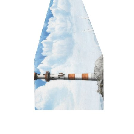 MYPOP Blue Sky And White Clouds Sea Lighthouse Cotton Linen Table Runner 16x72 Inches - Blue And White Table Runner