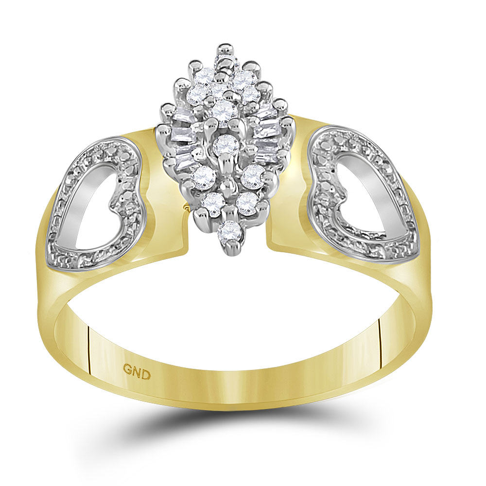 10kt Yellow Gold Womens Round Natural Diamond Double Heart Cluster Fashion Ring (1/6 cttw.) size- 10