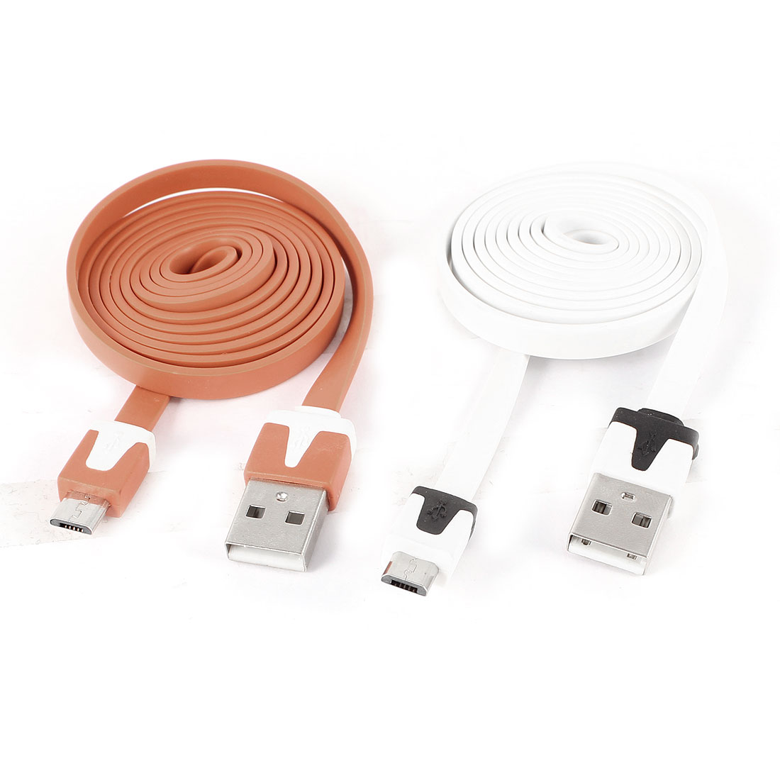 Unique Bargains 2pcs White Orange USB A to Micro B 5Pin M/M Flat Data Charging Cable 1M 3.28Ft