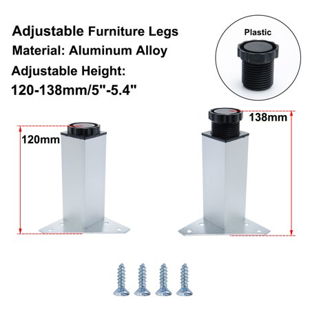 "5"" Furniture Leg Aluminium Alloy Cabinet Height Replacement Adjustable Feet 4pcs - image 1 de 7"