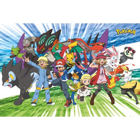 Pokemon - TV Show / Gaming Poster / Print (Traveling Party - Ash, Pikachu & Friends) (Size: 36