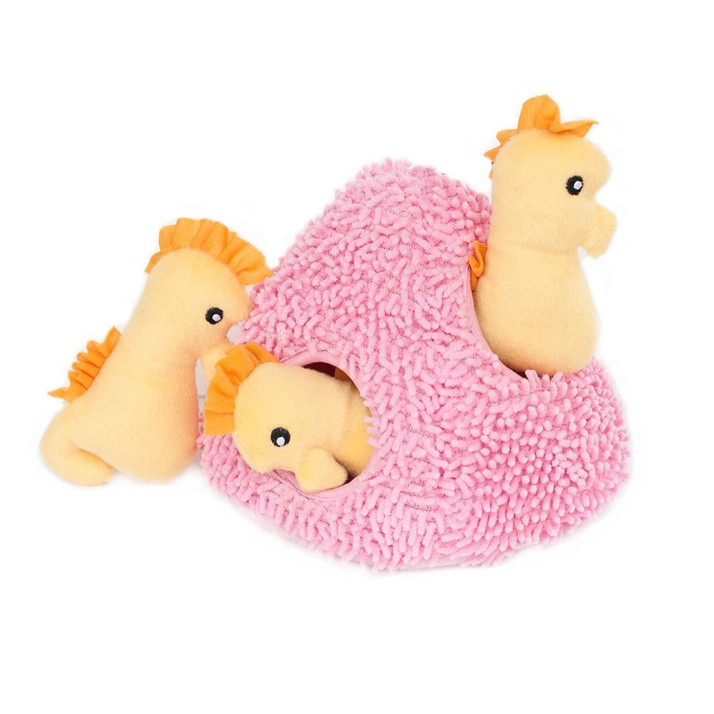 ZippyPaws Burrow Seahorse 'n Coral Squeaky Plush Hide Seek Durable Dog Toy