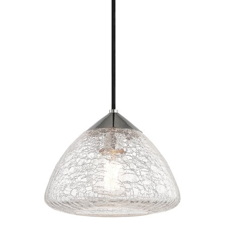 Mitzi by Hudson Valley Maya 1-light Polished Nickel Small Pendant, Clear Crackle Glass Crackle 1 Light Pendant