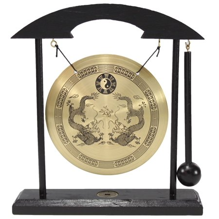 ERROR Zen Table Gong Dragon with Taiji Symbols Feng Shui Meditation Desk Bell Home Decor Housewarming Congratulatory Blessing Gift US Seller