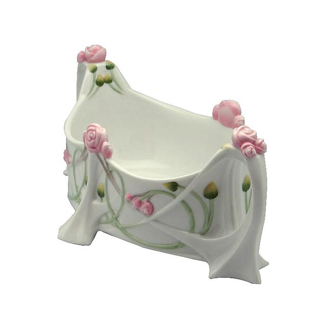 Unicorn Studios AP20315AA White Porcelain Tea Bag Caddy with Roses Stems Leaves