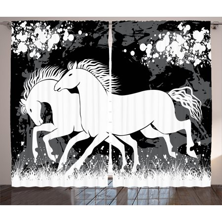 Modern Curtains 2 Panels Set, Antique Roman Time Gladiator Two Race Horses with Paint Marks Image Print, Window Drapes for Living Room Bedroom, 108W X 96L Inches, Black White Grey, by Ambesonne