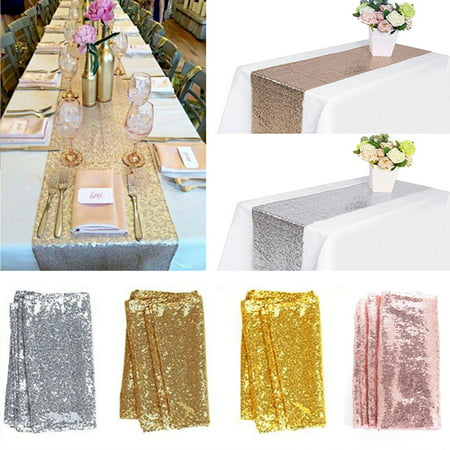 12'' x 108'' Sequin Table Runners, Glitter Table Cloth Wedding Christmas Party Banquet Decor Photography Background Backdrop Photo Studio Props ()