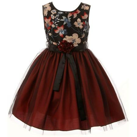 Little Girls Floral Tulle Christmas Birthday Holiday Party Flower Girl Dress Burgundy 4 (J21KS48)