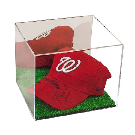 Deluxe Acrylic Baseball Cap Display Case with Turf Base and Mirror (A006-TB) Acrylic Cap Display Case