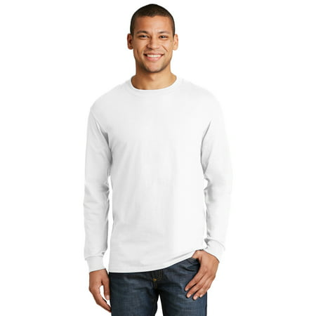 9c1ab0852db02f Hanes - Hanes Beefy-T 100% Cotton Long Sleeve T-Shirt - Walmart.com