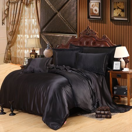 3Pcs/4Pcs Solid Color Imitated Silk Fabric Bedding Set Quilt Cover Pillowcase Bed Sheet black Twin Size 3 pcs ()