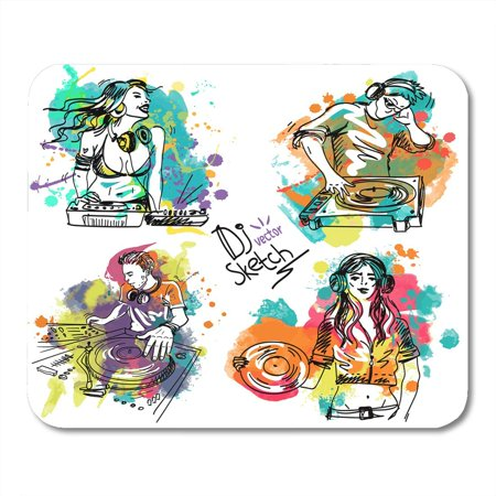 KDAGR Colorful Sketch with The Dj and Turntable on Colored Blots Disc Jockey Mixing Music in Headphones Playing Mousepad Mouse Pad Mouse Mat 9x10 inch