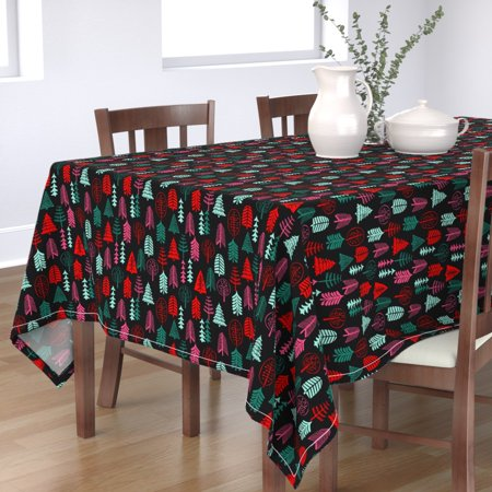 Image of Tablecloth Christmas Christmas Tree Christmas Trees Red And Green Cotton Sateen