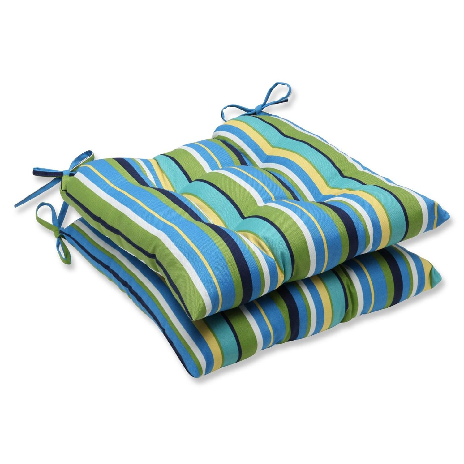 Set of 2 Blue and Green Striped Patio Chair Cushions 19