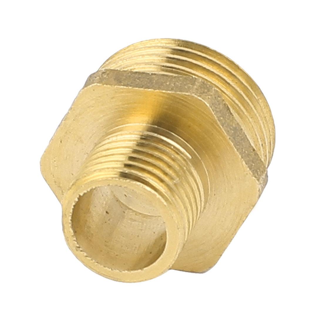 2PCS 1/4BSP 1/2BSP Male Thread Dimeter Brass Hex Adapter Reducer Bushing