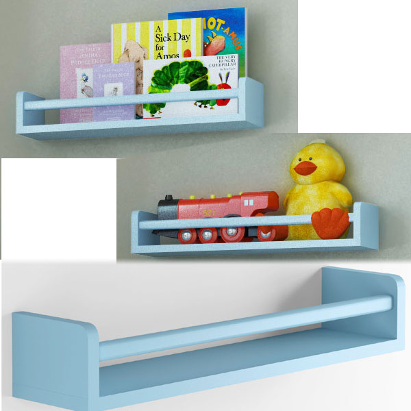 Set of 3 Children's Wall Shelf Wood 17.5 Inch Multi-use Bookcase Toy Game Storage Display Organizer (Light blue) …