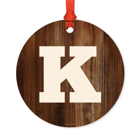 Metal Christmas Ornament, Monogram Letter K, Rustic Wood, Includes Ribbon and Gift Bag - Ribbon Letters