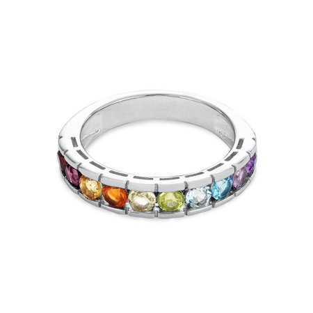 Sterling Silver Multi Gemstone Ring Size