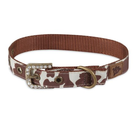 - MuttNation Fueled Cowhide Print Custom Fit Dog Collar Medium Brown 3/4x12-16 inch