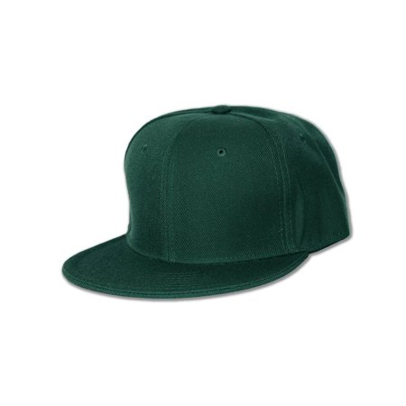 New Blank Baseball Flat Bill Fitted Hat Cap - Forest Green