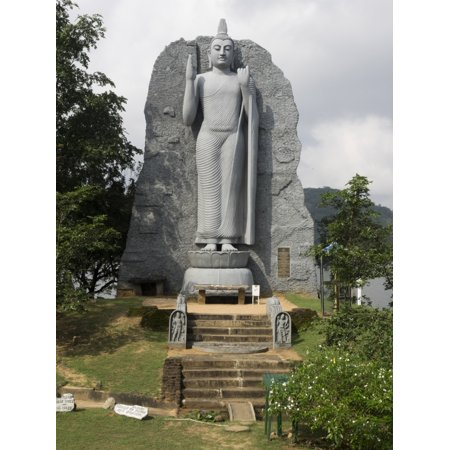 Newly constructed Buddha statue opposite military base Giritale North Central Province Sri Lanka Stretched Canvas - Panoramic Images (9 x