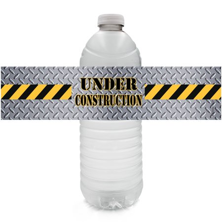Under Construction Party Water Bottle Labels, 24 - Under Construction Decorations