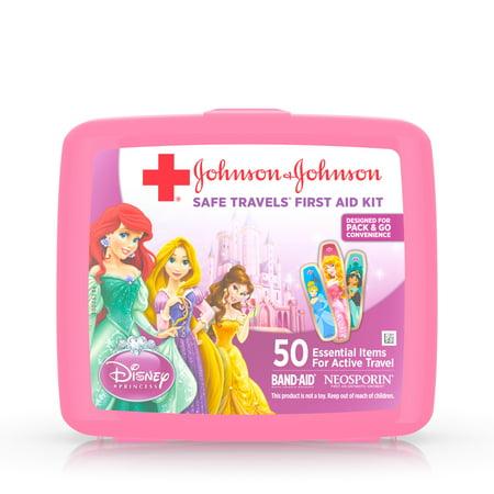 Johnson & Johnson Red Cross Brand Safe Travels First Aid Travel Kit Featuring Disney Princess