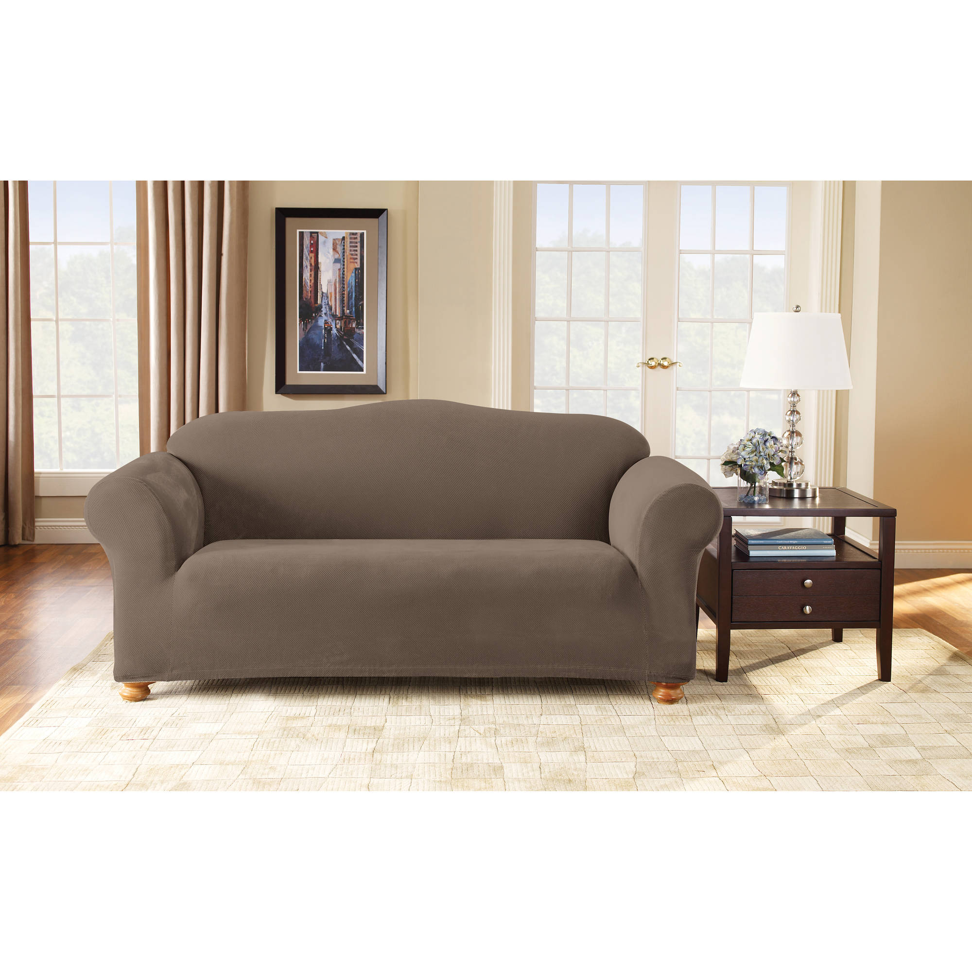 Stretch Pixel Corduroy Sofa Slipcover Taupe - Sure Fit