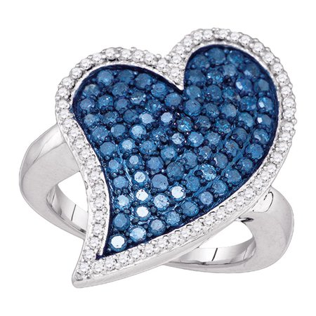 Big Dimond Ring (Blue Diamond Big Heart Ring 10k White Gold Love Band Curve Design Round Cluster Cocktail Style 1-1/2)