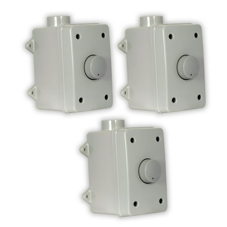 (Theater Solutions OVCDG Outdoor Volume Controls Gray Weatherproof Dial 3 Control Set)
