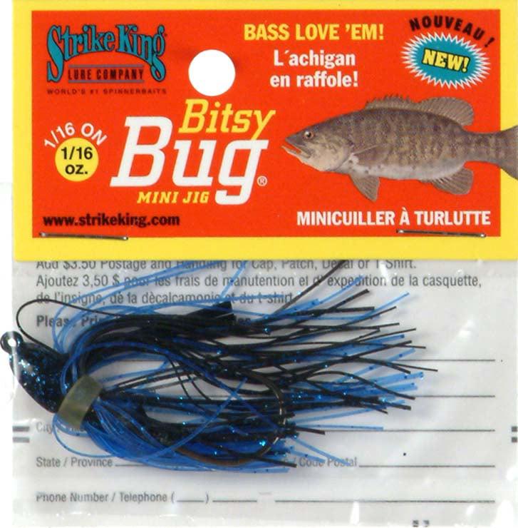 Strike King Bitsy Bug Mini Jig Bait (Black/Blue, 0.0625-Ounce) Multi-Colored